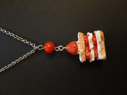 Piece of cake necklace with red bead