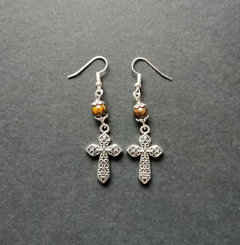 Cross Earrings with tiger eye beads