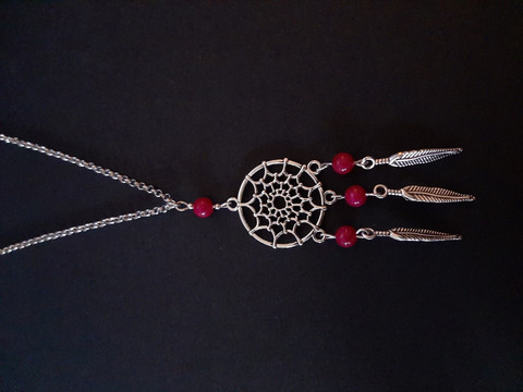 Dreamcatcher necklace with purple stones