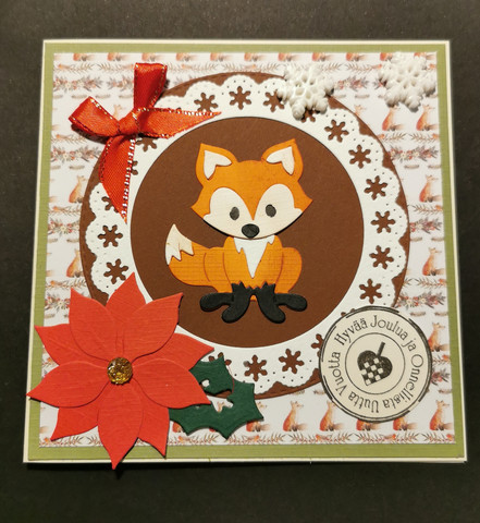 Fox and flower Christmas card