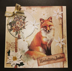 Fox and pine cones Christmas card