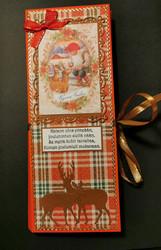 Elf and deers chocolate bar card