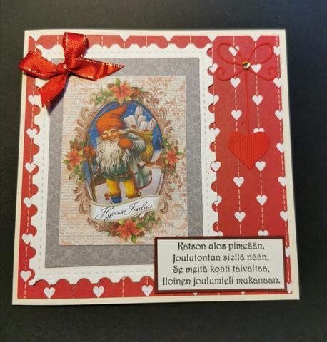 Joulutonttu runolla kortti