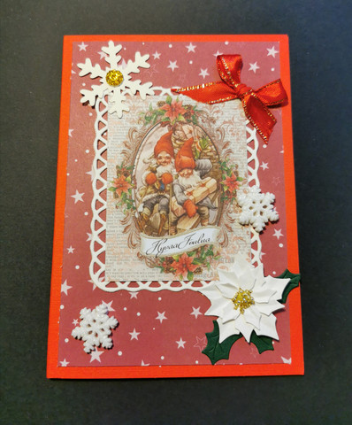 Elves in a sleigh Christmas card
