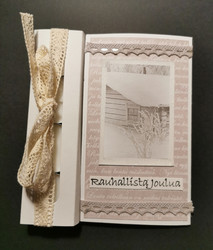 Candle card with cottage and lace