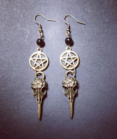 Bird skull earrings with pentagram