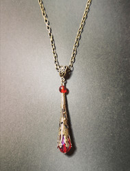 Medieval necklace with red pendant