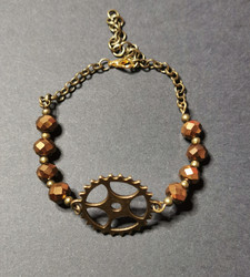Steampunk gear Bracelet with beads