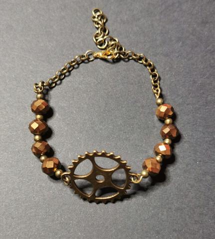 Steampunk gear Bracelet with beads