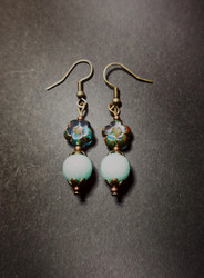 Blue flower earrings with mint stone beads