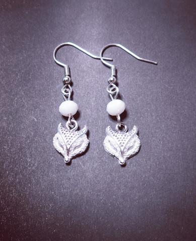 Silver colored fox earrings