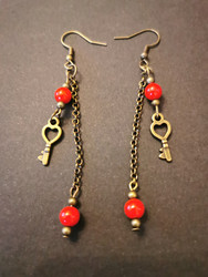 Long heart-key earrings