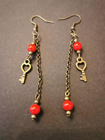 Long heart-key earrings