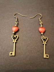 Key earrings with hearts