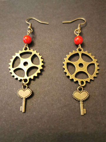 Gear earrings with keys and beads