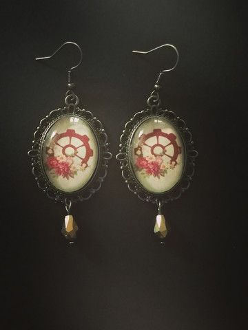 Steampunk earrings with roses and a droplet