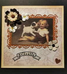 Valentine's day card with dog and girl