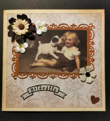 Ystävänpäiväkortti tyttö ja koira