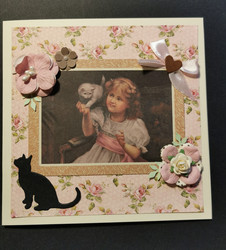 Handmade card with cat and girl