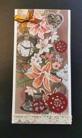Steampunk kortti kukka pitkä malli