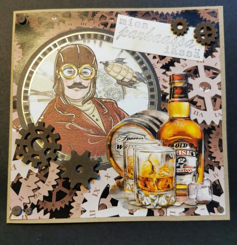 Kortti steampunk mies ja viski