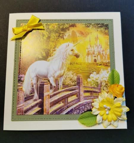 Yellow unicorn card
