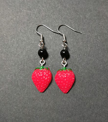 Strawberry earrings with black beads