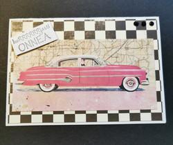 Autokortti pinkki auto