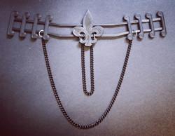 Fleur de lis ear saver with chains
