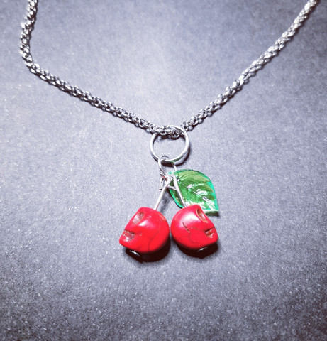 Red skull cherry necklace