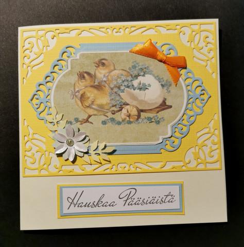 Käsintehty kortti pääsiäistiput keltainen