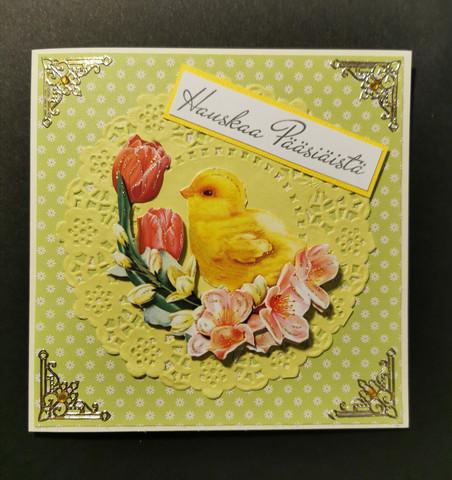 Käsintehty kortti pääsiäistipu keltainen
