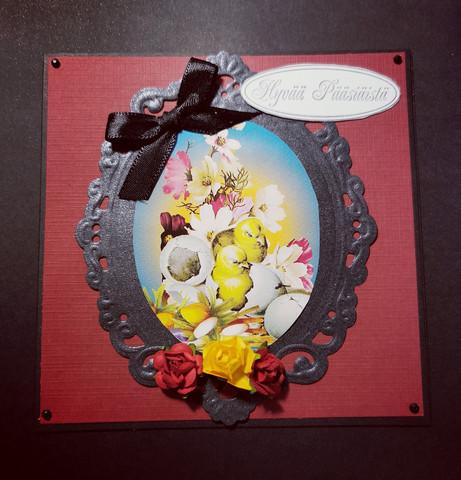 Handmade easter card black easter chick