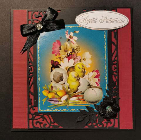 Handmade easter card black easter chick