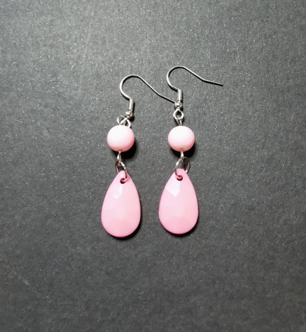 Colourful pink droplet earrings