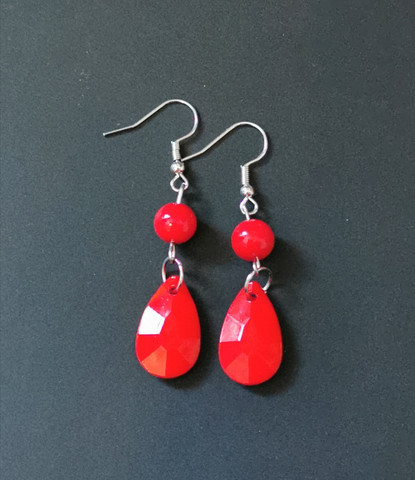 Colourful red droplet earrings