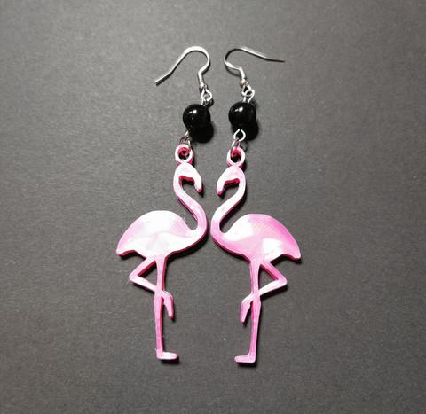 Flamingo earrings with black beads