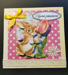 Bunny and tulip easter card