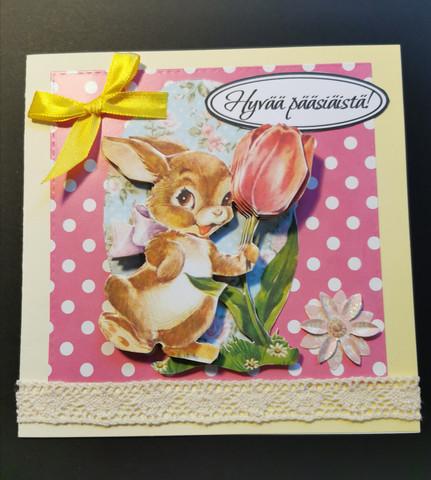 Pupu ja tulppaani pääsiäiskortti