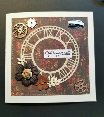 Steampunk Graduate card with brown flower