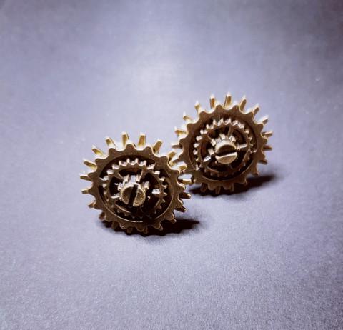 Bronze-colored screw gear cuff-links