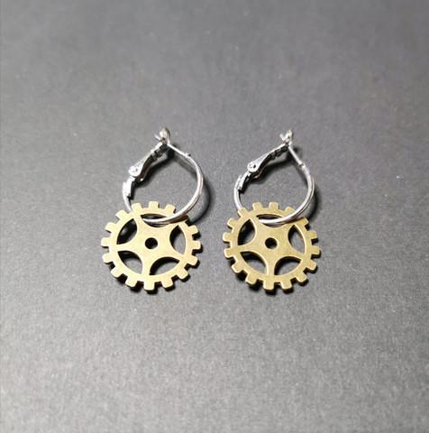 Hinge gear earrings 1