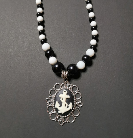 Black and white anchor necklace