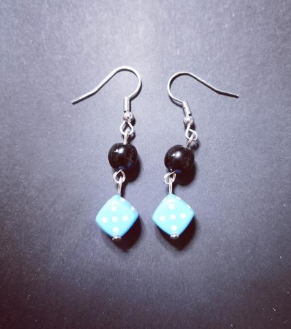 Light blue dice earrings