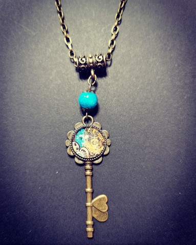 Steampunk Key and gears necklace