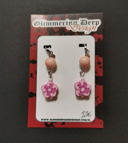 Flower clip earrings