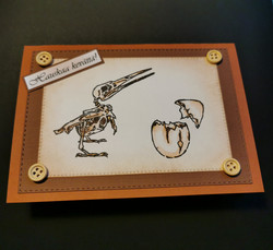 Spring card with skeleton bird