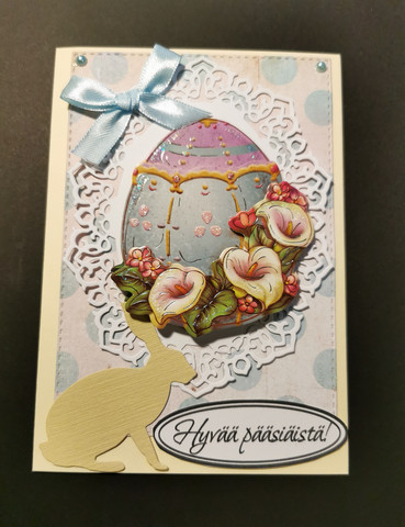 Egg easter card with bunny