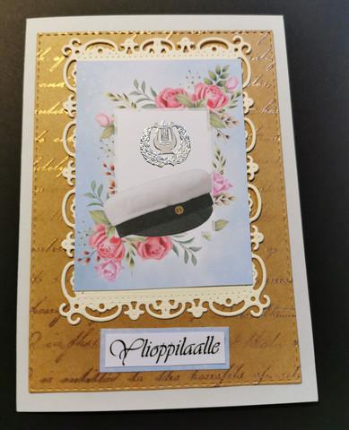 Ylioppilaskortti vintage vaaleansininen