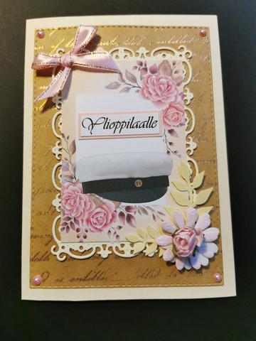Ylioppilaskortti vintage vaaleanpunainen